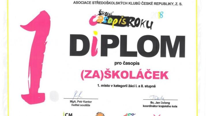 Vynikající úspěch – 1. místo pro (Zá)školáčka !